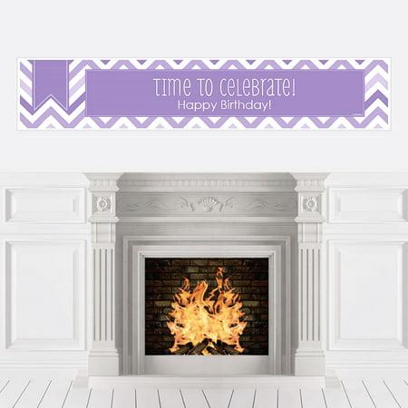 Chevron Purple - Party Decorations - Birthday Party Banner - Purple Birthday Banner