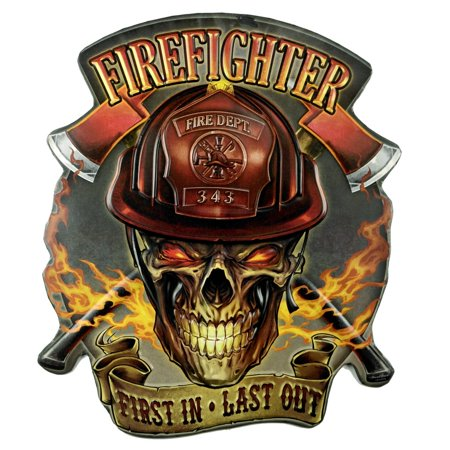 Large 3D Firefighter Helmet Skull Metal Sign Man Cave Bar Pub Wall Decor FF Gift