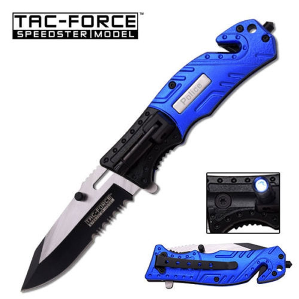 """Click here to buy 8"""" BLUE AND BLACK ALUNIMUM HANDLE STAINLESS STEEL BLADE MTECH SPRING ASSISTED FOLDING KNIFE Blade pocket open switch- Firefighter...."""