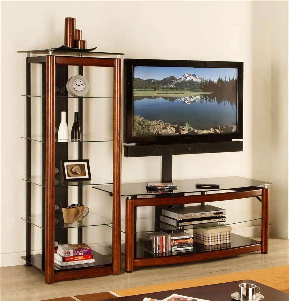 54 in. TV Console w Audio Tower Set in Brown Cherry - VAS