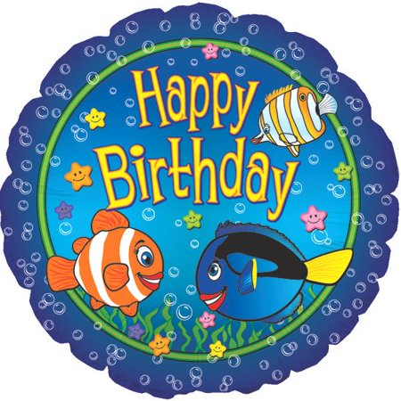 Happy Birthday Big Fish Balloon (18 Inch Mylar) Pkg/10](Fish Balloons)