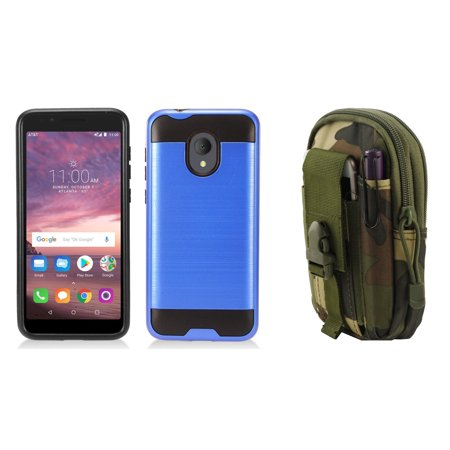 Navy Blue Jungle - Bemz Accessory Bundle for Alcatel TCL LX - Slim Brushed Protective Case (Dark Blue), Tactical Utility Pack (Jungle) and Atom Cloth for Alcatel TCL LX