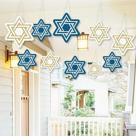 Hanging Hanukkah - Outdoor Chanukah Hanging Porch & Tree Yard Decorations - 10 Pieces - Hanukkah Outdoor Decorations