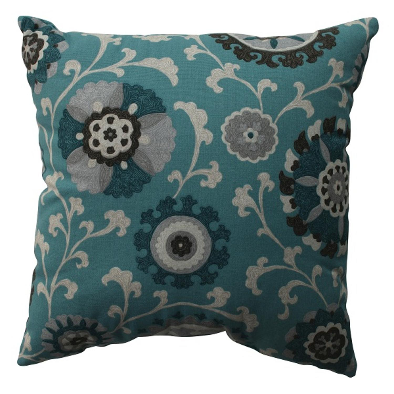 "16.5"" Teal Frenzy Decorative Throw Pillow"