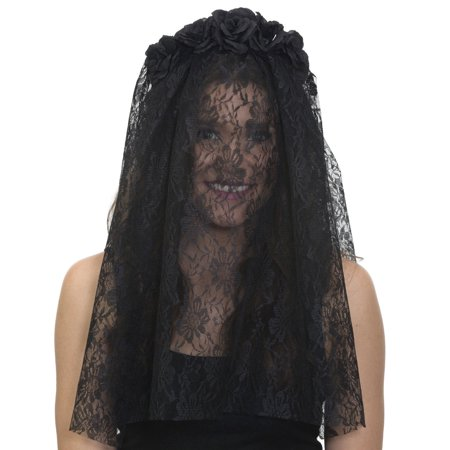 Black Day Of Dead Lace Veil Headband Flowers Dia de los Muertos Accessory - Dread Headband