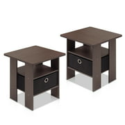 Furinno Petite End Table Bedroom Night Stand - Set of Two, Multiple Finishes