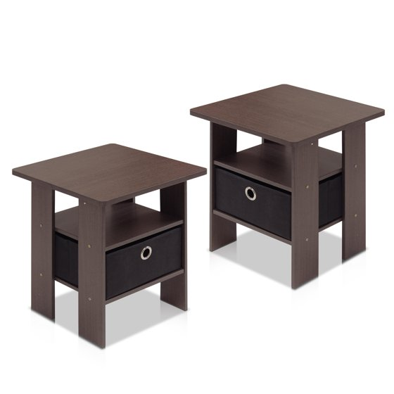 Furinno petite end table bedroom night stand set of 2 for Multi night stand