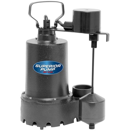 Superior Pump 92541 1/2 HP Vertical Float Switch Cast Iron Submersible Sump