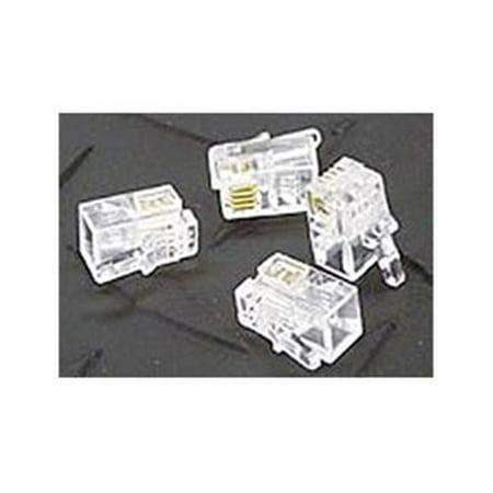 RJ11 6P4C Modular Plug Connectors Clear - 100 Pack - image 1 de 1