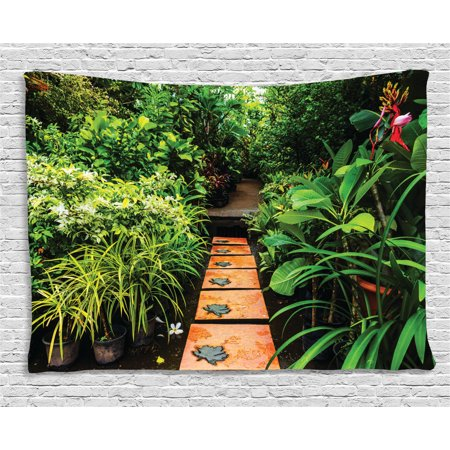 Zen Garden Tapestry, Lush Garden with Tropical Plants and Wooden Path Tranquility Harmony Theme, Wall Hanging for Bedroom Living Room Dorm Decor, 80W X 60L Inches, Green Pale Brown, by -