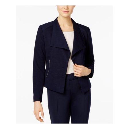 CALVIN KLEIN $109 Womens New 1161 Navy Textured Long Sleeve Top XS B+B
