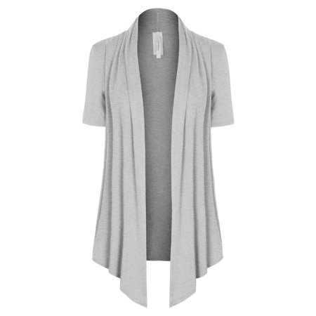 Made by Olivia Women's [Made in USA] Solid Jersey Knit Short Sleeve Open Front Draped Cardigan (S-3XL) Heather Grey 2XL