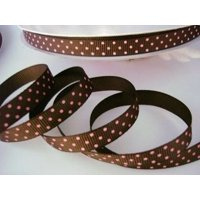 "50 yards Brown/pink Swiss Polka Dots Grosgrain 3/8"" Ribbon 9mm/Craft/Supply R79-18 US Seller Ship Fastcolorful christmas holidays gifts roll By wwwembellishmentworldcom"