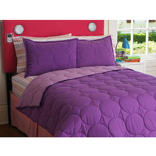 Your Zone Reversible Comforter and Sham Set, Purple Berry/Iris Size Full/Queen