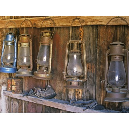 Lanterns Inside Boone's General Store, Abandoned Mining Town of Bodie, Bodie State Historic Park Print Wall Art By Dennis (Quoizel Town Park)