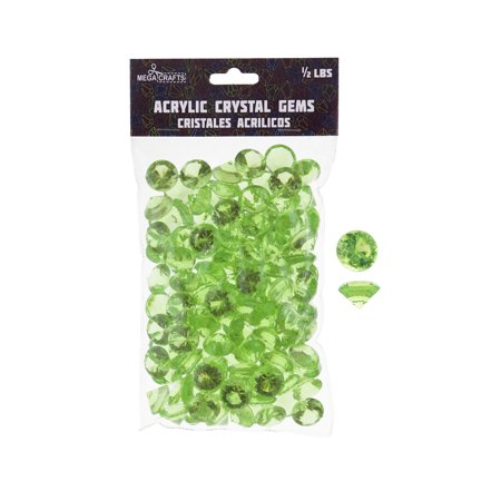 Mega Crafts - 1/2 lb Acrylic Small Diamonds Light Green | Plastic Glass Gems For Arts And Crafts, Vase Fillers And Table Scatters, Decoration Stones, Shiny Pebbles (April Crafts)