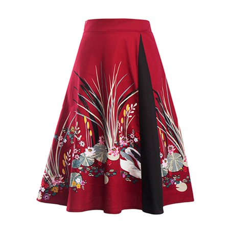Darling Floral Skirt - Vintage Style Skirt Women Retro Swing Flare Floral Skirts Chinese Style Printed Elegant High Waist Midi Dress