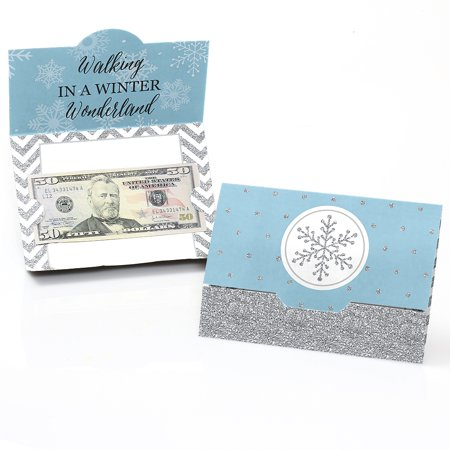 Winter Wonderland - Snowflake Holiday Party & Winter Wedding Money and Gift Card Holders - Set of 8