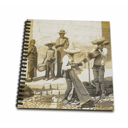 3dRose Traditional Mexican Street Musicians Mariachi Band Stereoview - Memory Book, 12 by