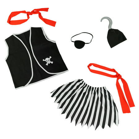 SeasonsTrading Girls Pirate Costume Accessories Set 6 Pcs - Child Kids Halloween, Birthday Party, Cruise, Pretend Play, Dress Up