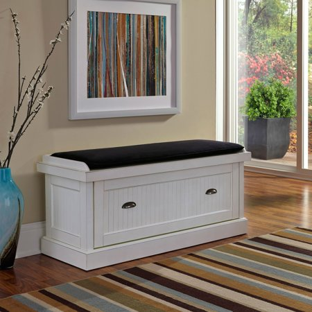 Nantucket Distressed White Upholstered Bench ()