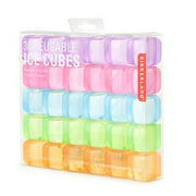 Square Reusable Ice Cubes, Made of Plastic (Set of 30) | Filled With Pure Water By Kikkerland From USA