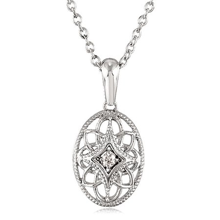 Vintage Style Diamond Oval Necklace in Sterling Silver