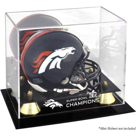 Denver Broncos Golden Classic Mini Helmet Super Bowl 50 Champions Logo Display (Champions Mini Helmet Display Case)