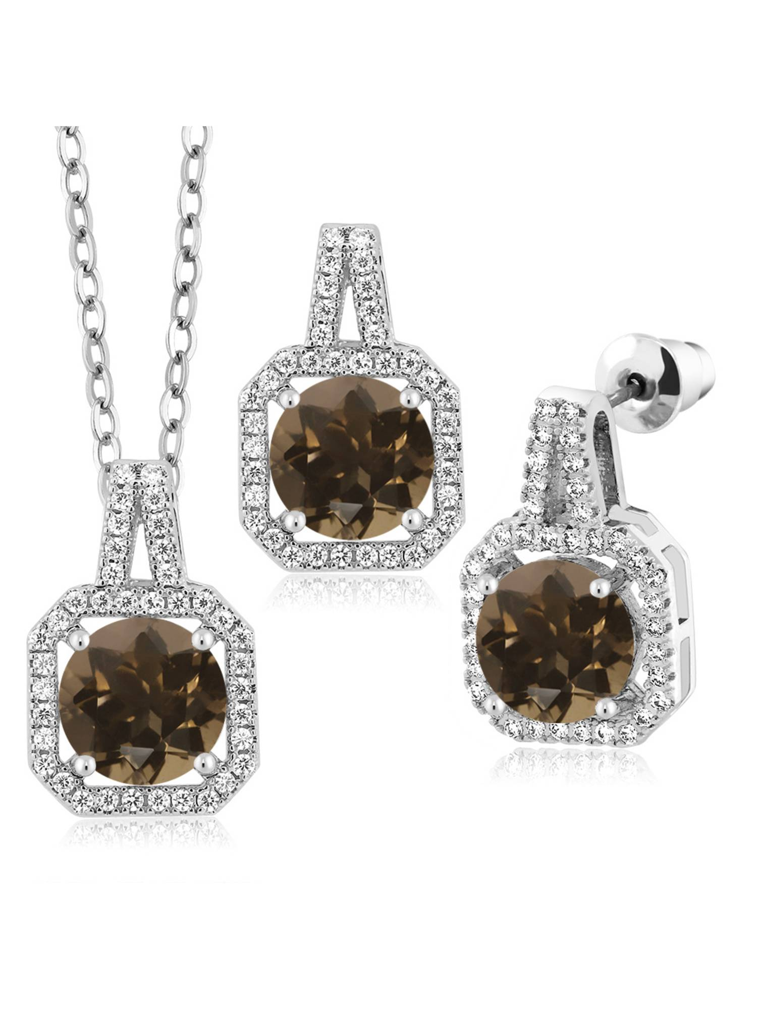 6.47 Ct Round Brown Smoky Quartz Rhodium Plated Pendant Earrings Set
