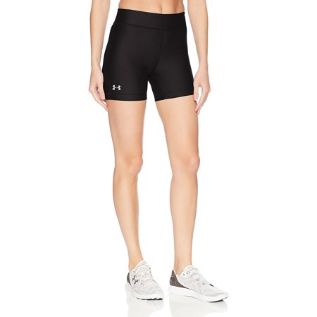 Under Armour Women's HeatGear Armour Middy Shorts, Black/Silver, Medium (Under Armour Lace Shorts)