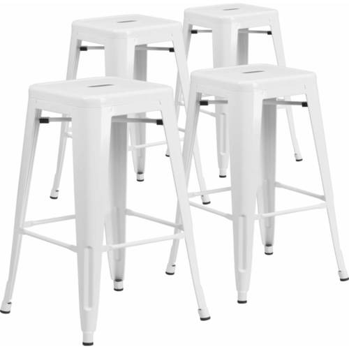 """Flash Furniture 30"""" High Backless Metal Indoor-Outdoor Barstool with Square Seat, 4 Pack, Multiple Colors"""