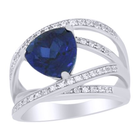 Trillion Cut Simulated Blue Sapphire and White Sapphire Crisscross Ring In 925 Sterling Silver Ring Size-7