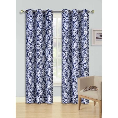 F12 Navy Blue 2-Pc Printed Blackout Room Darkening Window Curtain Treatment, Set Of Two (2) Floral Swirl Pattern Insulated Thermal Panels 37