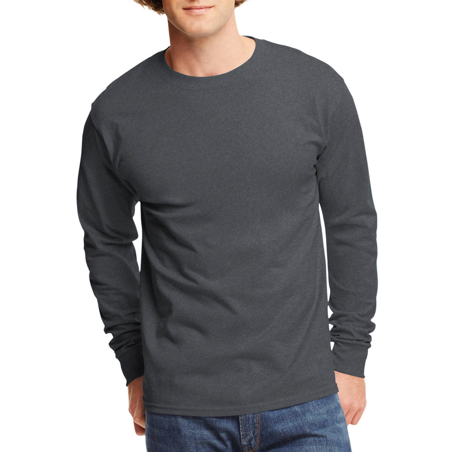 Hanes Mens Tagless Cotton Crew Neck Long-Sleeve Tshirt - Walmart.com