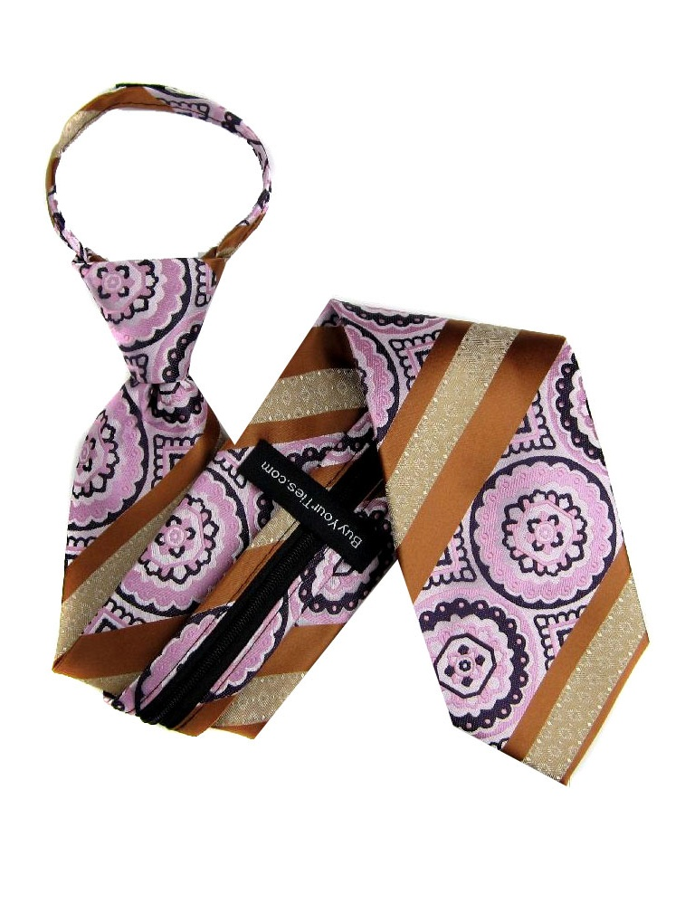BuyYourTies - Bronze  Pink Purple Boys Stylish Pattern Zipper Necktie