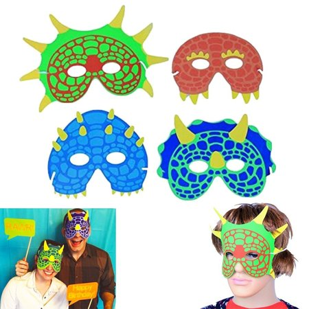 Dinosaur Mask | Party Costume Foam Mask  | Birthday Party Supplies | 12 Pieces | Fun Masquerade Idea | Dazzling - Fast Costume Ideas