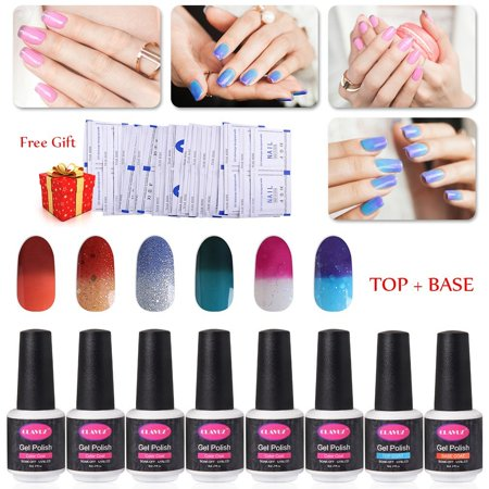 Clavuz Gel Nail Polish 6pcs Soak Off Very Adorable Color Changing Kit With Top