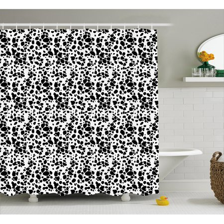 Dalmatian Dog Print Shower Curtain Black And White Puppy Spots Fur Pattern Fun Spotted Pets