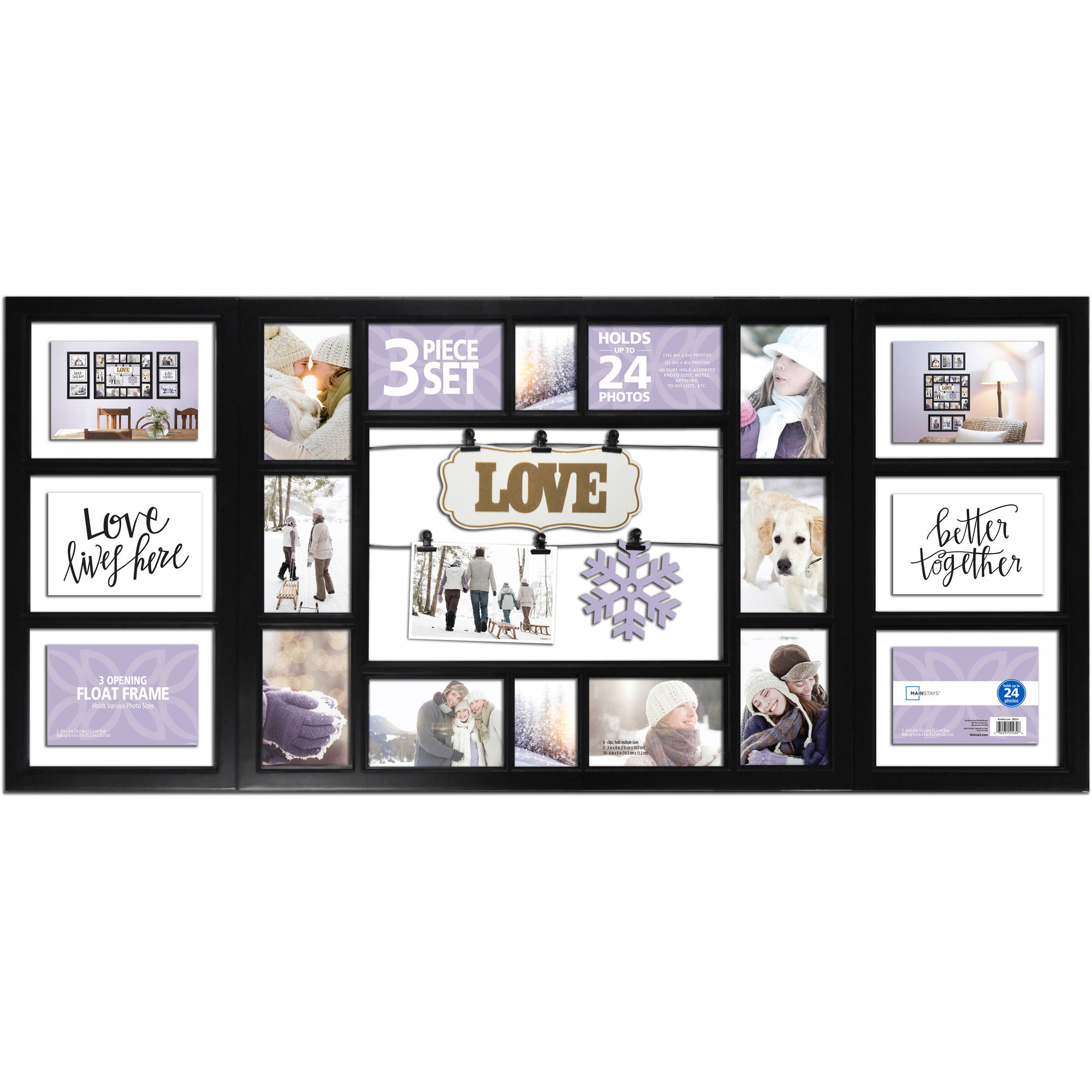 Mainstays 3-Piece Frame Set, 24-Opening Black, Love - Walmart.com