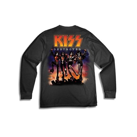 House Music T-shirts - Men's KISS Destroyer Rock and Roll Logo Long Sleeve Graphic T Shirt
