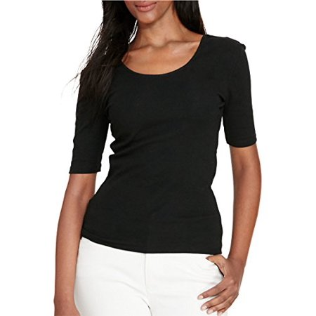New  Lauren Ralph Lauren Women's Rohenna Slim Fit Scoopback Tee Shirt Black X-Large