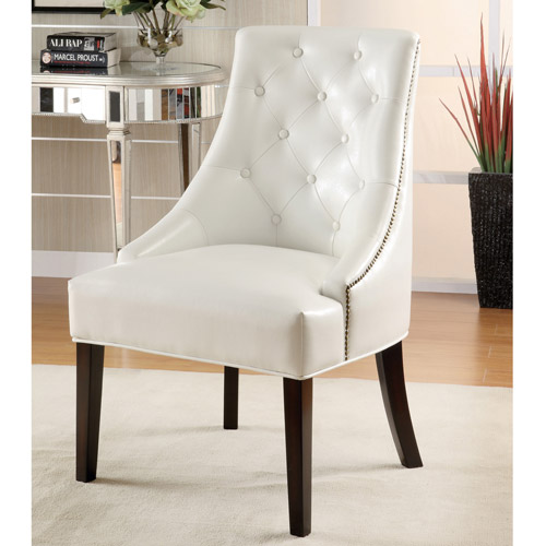 Coaster Bonded Leather Accent Chair, White by Coaster Company