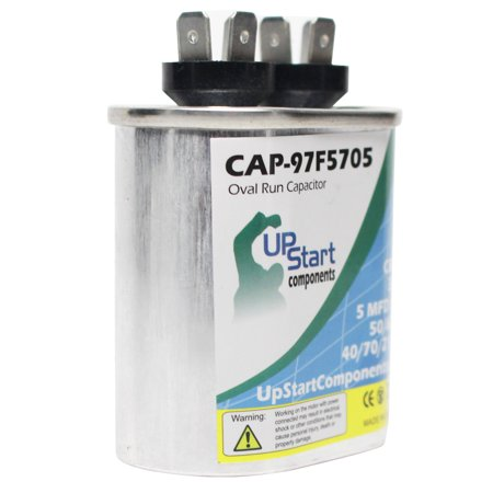 3-Pack 5 MFD 370 Volt Oval Motor Run Capacitor Replacement for Amana / Goodman / Janitrol A24-10 - CAP-97F5705, UpStart Components Brand - image 1 of 4