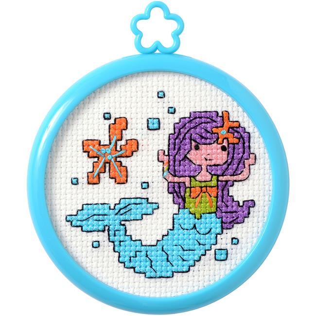 3 in. Round Mermaid Mini Cross Stitch Kit - 14 Count