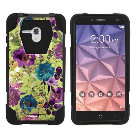 Alcatel One Touch Fierce XL 5054N Shock Fusion Heavy Duty Dual Layer Kickstand Case -  Yellow Purple Flowers