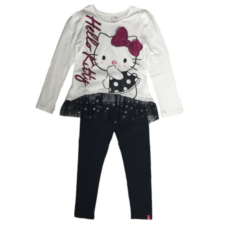 Hello Kitty Birthday Outfit (Hello Kitty Toddler & Little Girls 2 PC Set Glittery Hi Lo Shirt & Leggings)