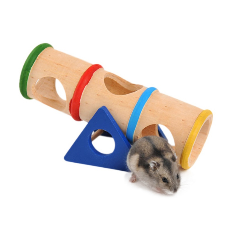 Hamster Wooden Seesaw Tunnel Colorful Seesaw Cage House Hide Play Toy for Hamster Rat Mouse by