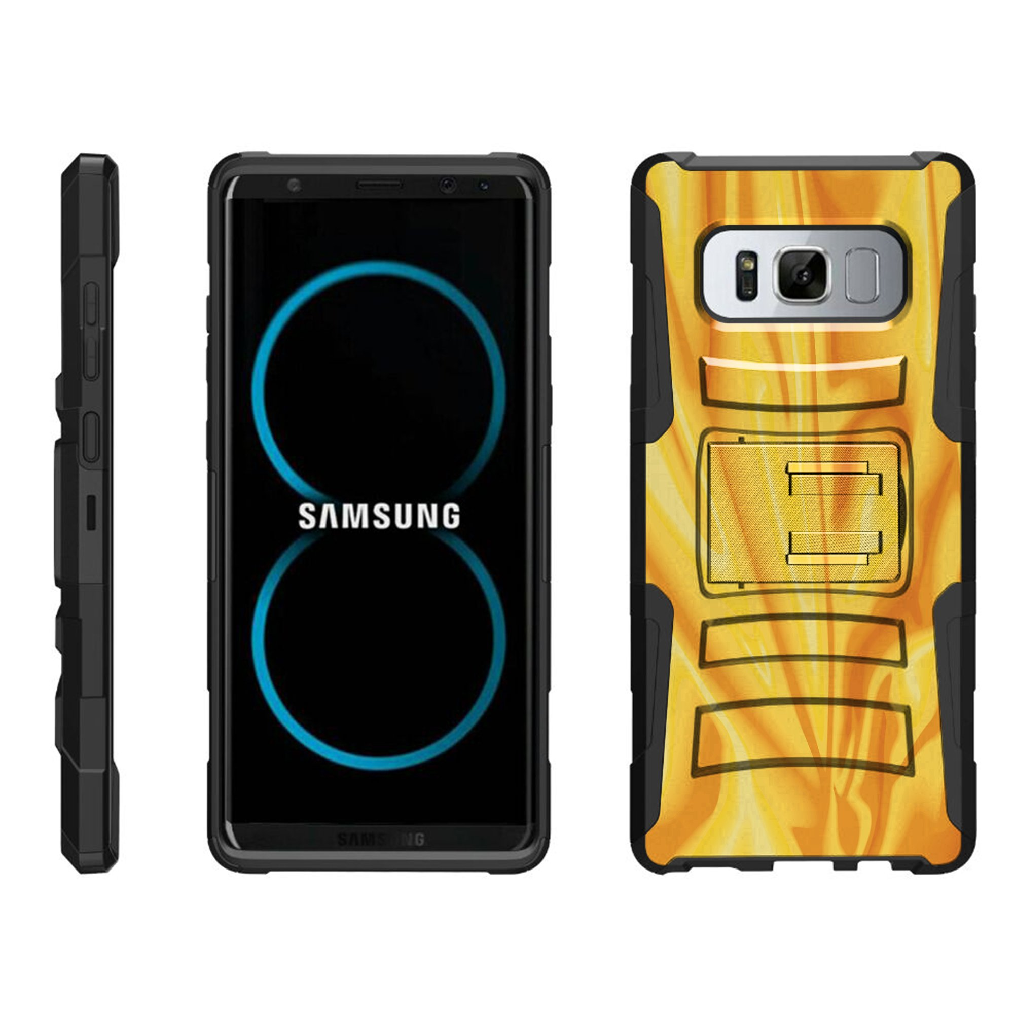 TurtleArmor ® | For Samsung Galaxy Note 8 N950 [Hyper Shock] Rugged Dual Layer Hybrid Armor Kickstand Holster Belt Clip Case - Dreamcatcher Feathers