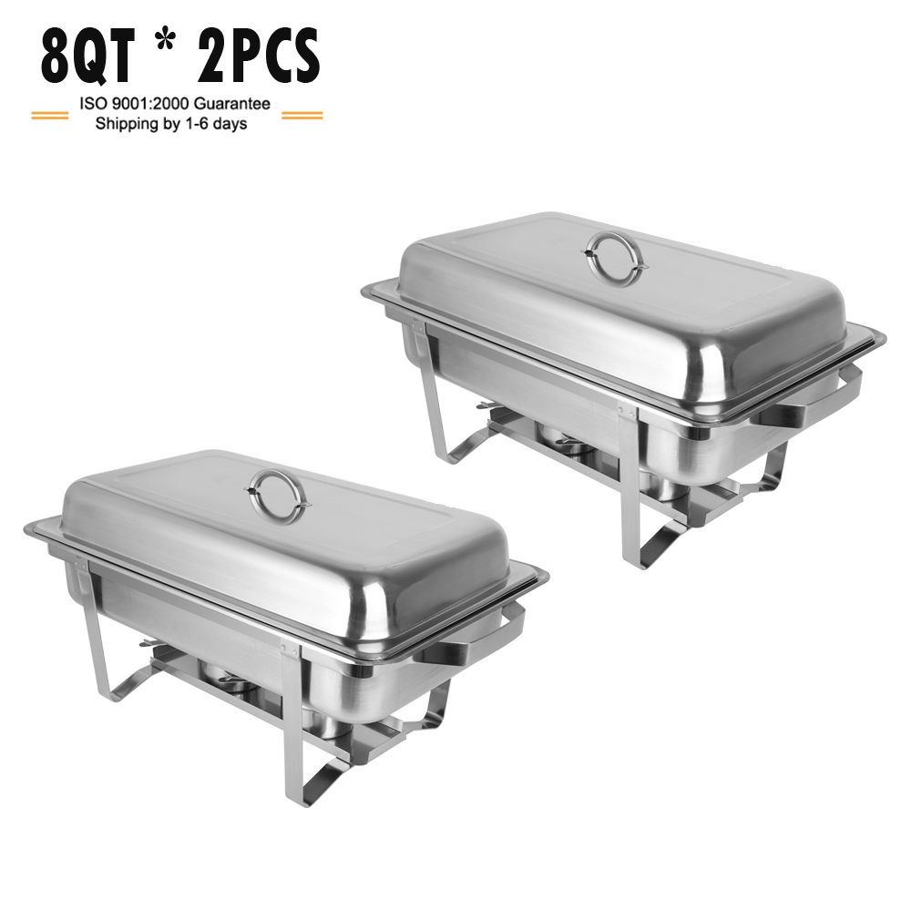ROVSUN Stainless Steel Chafing Dish Full Size Chafer Dish Beffet Set 2 Pack of 8 Quart For Catering Buffet Warmer Tray Kitchen Party Dining (Rectangular)