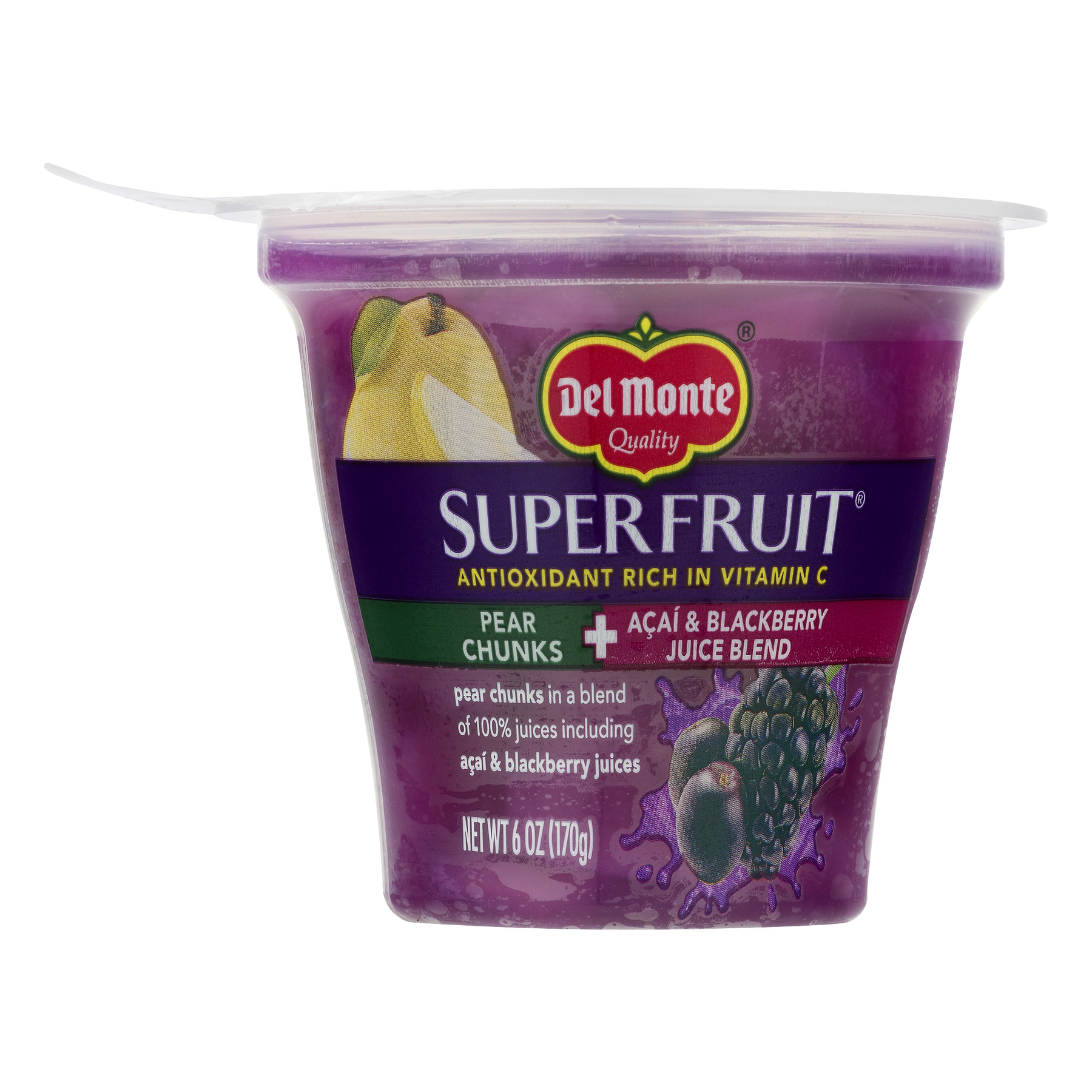 Del Monte SuperFruit Pear Chunks and Acai & Blackberry Juice Blend, 6 oz